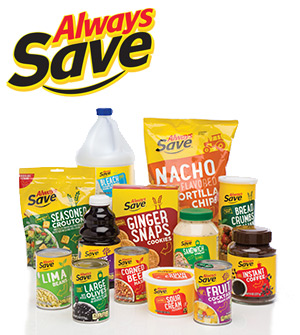 Photo of assorted Always Save products and logo.